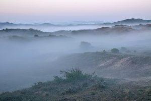 Lagen mist tussen de duinen tijdens zonsopkomst in de vroege ochtend in het Noordhollands Duinreservaat bij Castricum aan Zee.