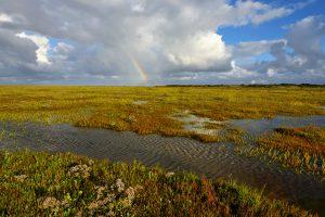 Grote wolk en regenboog boven slenk in de kwelder van het Westerstrand op het waddeneiland Schiermonnikoog