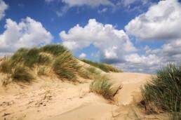 Blauwe wolkenlucht boven wuivend helmgras en duinzand in de stuifduinen van de Van Limburg Stirum vallei in de Amsterdamse Waterleidngduinen bij De Zilk.