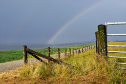 Regenboog boven de dijk en het drooggevallen wad tijdens laagwater op het Balgzand bij Van Ewijcksluis
