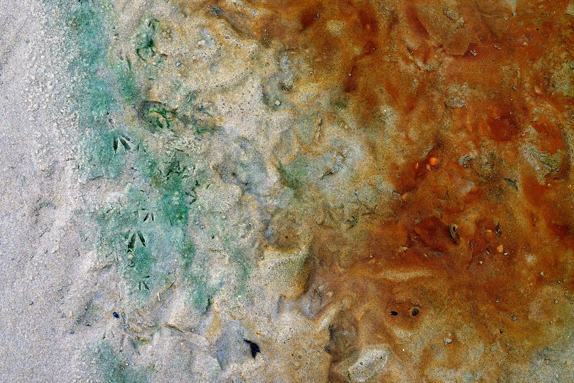 Roestkleurig water van kwel in een zwin aan de voet van de duinen op het strand van Hargen aan Zee
