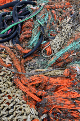 Aangespoeld visnet met zeesterren langs de vloedlijn op het strand van Wijk aan Zee na een winterstorm op de Noordzee.
