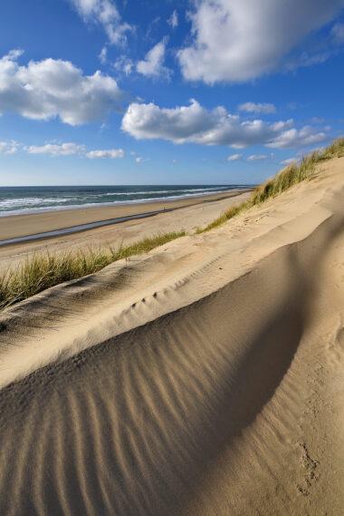 Uitzicht over het strand en de Noordzee op een zonnige winterdag vanaf een duinhelling in de zeereep op het strand van Heemskerk.