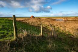 Zicht op rietmoeras en boerderij vanaf dijk aan de andere zijde van de Abtskolk